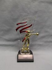 Boxer trophy red backdrop weighted black base
