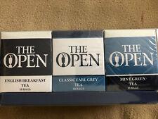 3 Pack British Open Tea 30 Bags English Breakfast Earl Grey Mint Green NIB