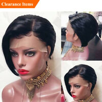 Brazilian Human Hair Lace Front Wigs Short Pixie Cut Wig Swiss Wigs Remy Hair 1B