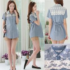 Denim Top Blouse Shirt Nursing Breastfeeding Lace Block Elegant Cute 8 10 12 14