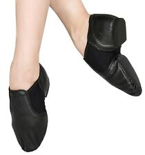 Leather Slip On Jazz Shoes All Sizes Tan N Black 136MM-266MM  Quality Assured