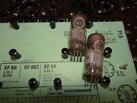 2 E-Röhren Valvo EF 80 5/6 mA Tube Valve auf Funke W19 geprüft BL1614