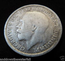 SOLID SILVER 3d 1919 Coin British World War I London Royal Mint Family King Nice