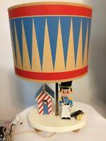 Wonderful Vintage Wood Children's Drummer Boy Lamp With Original Drum Shade