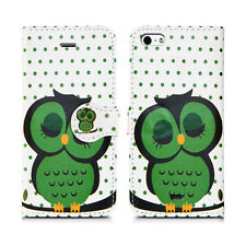 Flip Wallet Leather Cover Case for Apple iPhone Models Screen Protector Sleeping Owl I Phone 5 5s