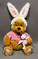 "Disney Winnie the Pooh with White Bunny Ears 13"" Plush Easter Decor"