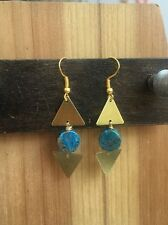 Gem Geometric Gold Hook Earrings Triangle Brass & Round Turquoise Calsilica