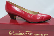 "SALVATORE FERRAGAMO Red Almond Toe Pumps 6.5 B 1.75"" Glossy Pewter Heels"