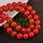 Hot 30pcs 10mm Round Black Stripes Charm Loose Spacer Glass Beads Red
