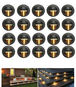20Pcs Warm White 35mm Half-Moon Yard Stair LED Deck Step Pathway Light Spot Lamp