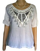 H&M $50 White Cotton Blouse Beads Tassels Peasant BOHO Short Sleeve Top SZ Small