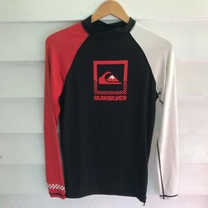 Quiksilver Red Black Long Sleeve Mens Rashie Shirt Size M