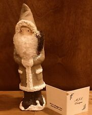 Collectors Item Gold Paper Mache Santa Made In Antique Chocolate Mold Decorated
