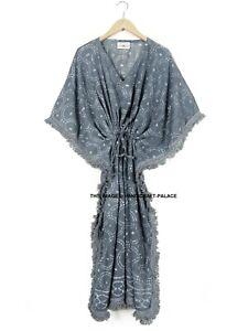 Anokhi Hand Block Print 100% cotton Kaftan Maxi Hippie Indian Dress Boho Gown