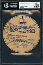 Felton & Pafko Autographed 5.25x5.25 Knot-Hole Gang Ticket Beckett 12060314
