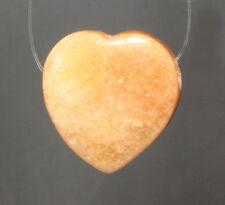 Naturstein Stein Anhänger durchgebohrt Halbedelstein Aventurin Herz orange rot