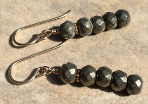 Fool's Gold on Gold Faceted Natural Pyrite Linear 14K GOLD FILLED Stick Earrings