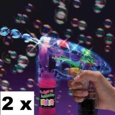 2 x Bubble Gun Flashing LED Bubble Machine with Music Kids Outdoor Garden Toy