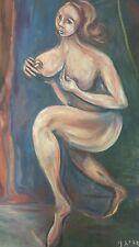 ancien tableau abstrait femme nue huile sur toile dans le style de picasso