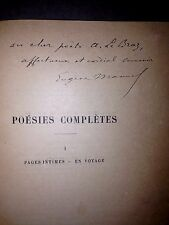 MANUEL Eugène. Poésies complètes. Calmann 899. 2 vol.Dédicace.a A.le braz