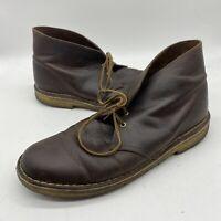 Clarks Originals Desert Boots Brown Leather Crepe  Sole Mens Size 9 M