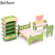 2017 Children Gift Kids Wooden Toy Furniture Doll House Set DIY Educational Toys Bed Room