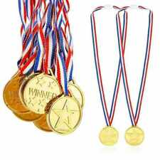 12 x Kids Gold Medals Plastic Winners Childrens Sports Day Winner Party Awards