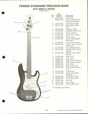 VINTAGE AD SHEET #3573 - FENDER GUITAR PARTS LIST - STANDARD PRECISION BASS