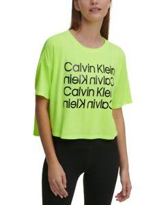 Calvin Klein Performance Women's Drop-Shoulder Cropped Logo T-Shirt, XL, *Defect