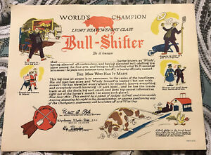 "1950s Arcade Dealer humorous Bull Shifter orig certificate #PW402 8 x 10"" Japan"