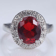 Vintage Natural 925 Silver Ruby Women Wedding Engagement Bridal Ring Size 7 8 9