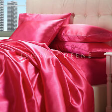 Satin Sheet Set QUEEN Size Hot Pink Quality Luxury Silk Feel Bedding FUCHIA NEW
