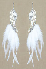 F2207 white downy Feather wing charm long dangle noble earrings hot sell New