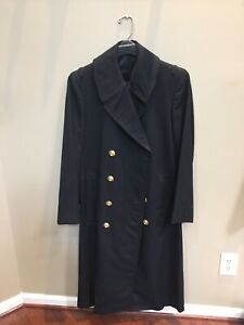US NAVY Officers Bridge Coat 36-38 Fit  Gold Button Long Trench