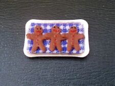 1/12th Scale. Dolls House. 3 Gingerbread Men On Tray. (Made By MBM)