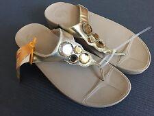 New Fitflop Women 11 Beige Gold Lunetta Jewelled Thong Sandal!