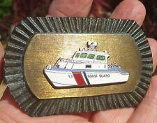 COAST GUARD vtg enamel belt buckle military boat brushed metal jewelry uniform
