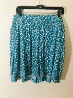 NWT! Lane Bryant Women's Plus 26/28 Teal Blue Print Pull On Elastic Waist Shorts