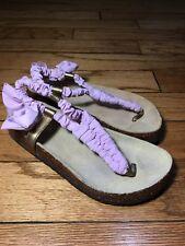 Crewcuts Girl's Stylish Fabric & Bronze Leather Accents Thong Sandas sz 3 Lilac
