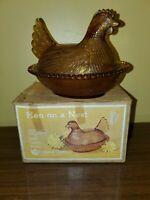 Vtg Indiana Glass NIB Hen on a Nest  1829 Golden Amber