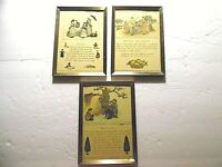 Lot of 3 Vintage British Rhymes Framed Prints Dolls, Marbles, Oranges and Lemons