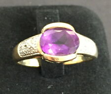 Genuine Amethyst Solid 9K Yellow Gold Ring Size p1/2(57mm) stone size 10mm x 7mm