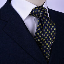 "Yellow Sparkling Diamond Floral Navy Blue Woven Tie Designer Casual 3"" Necktie"