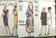 Lot 3 Vintage Sewing Patterns 1970s Vogue + Halston Dresses,