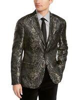 Tallia Mens Suit Jacket Black Gold Size 38 Slim-Fit Two-Button Verdello $295 193