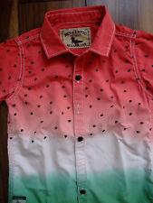 Next Hemd kurzarm Shirt rot grün Melone 98 gepunktet Dots