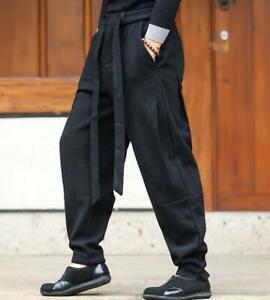 Men's Comfy Chinese Cotton Linen Casual Trousers Loose Retro Long Harem Pants