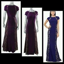 $280 JS BOUTIQUE Purple Lace Inset Panel Evening Dress Gown ~ 8  M3020