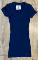 Abercrombie & Fitch Women's T Shirt Blue Small S/S Cotton Blend STRETCH LONG