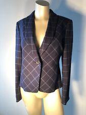 Brooks Brothers Sz 2 Stellita fit fitted jacket equestrian plaid blue Bin-C